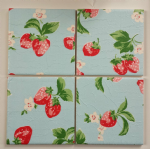 4 Ceramic Coasters in Cath Kidston Blue Strawberries